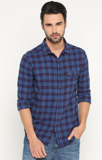 Showoff | Blue Checked Casual Shirt
