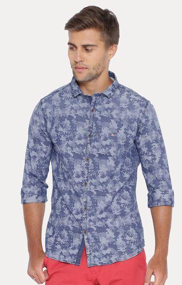 Showoff | Blue Abstract Casual Shirt