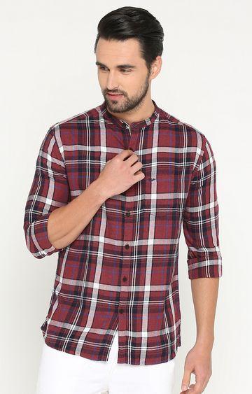 Showoff | Maroon Checked Casual Shirt
