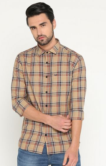 Showoff | Light Brown Checked Casual Shirt