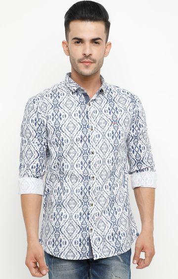 Showoff | Blue Printed Casual Shirt