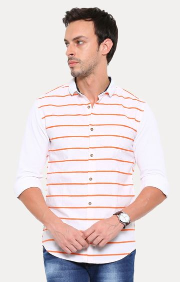 Showoff | White Striped Casual Shirt