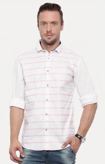 Showoff | Pink & White Striped Casual Shirt