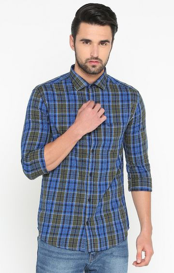 Showoff | Olive and Blue Checked Casual Shirt