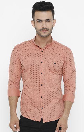 Showoff | Peach Printed Casual Shirt