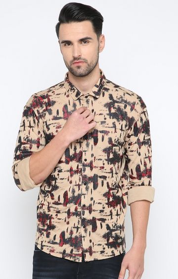 Showoff | Beige Printed Casual Shirt