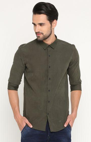 Showoff | Dark Olive Solid Casual Shirt