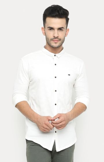 Showoff   White Solid Casual Shirt