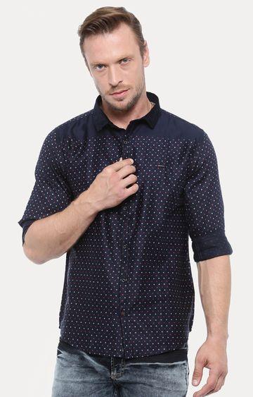 Showoff | Navy Blue Printed Casual Shirt