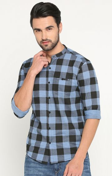 Showoff | Blue Checked Casual Shirt