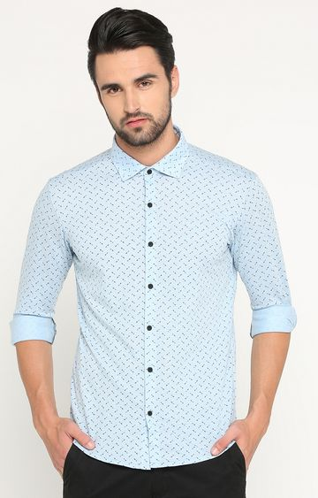 Showoff | Blue Printed Casual Shirt