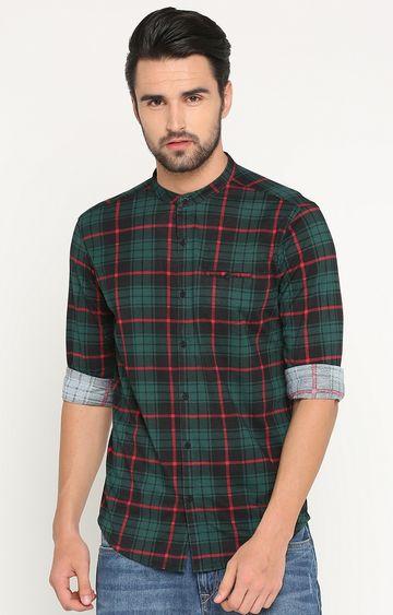 Showoff | Green Checked Casual Shirt