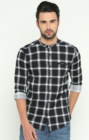 Showoff | Black Checked Casual Shirt