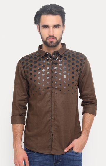 Showoff | Brown Printed Casual Shirt