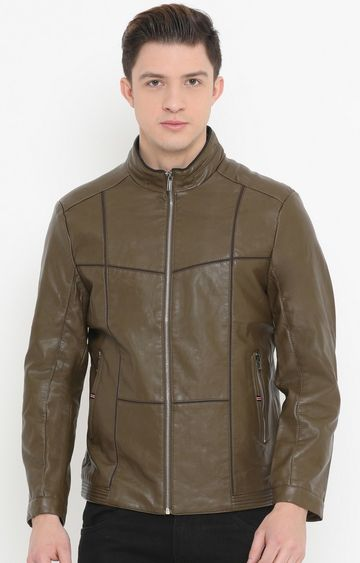 Showoff | Olive Checked PU Leather Jacket