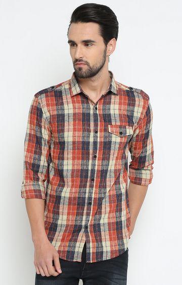 Showoff | Orange Checked Casual Shirt