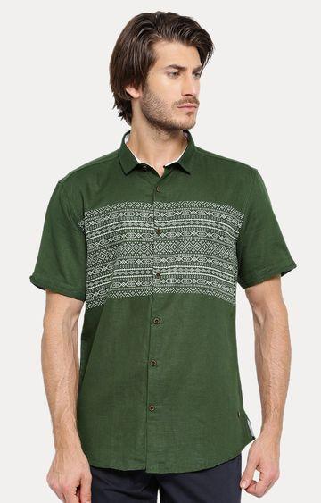 Showoff | Green Printed Casual Shirt