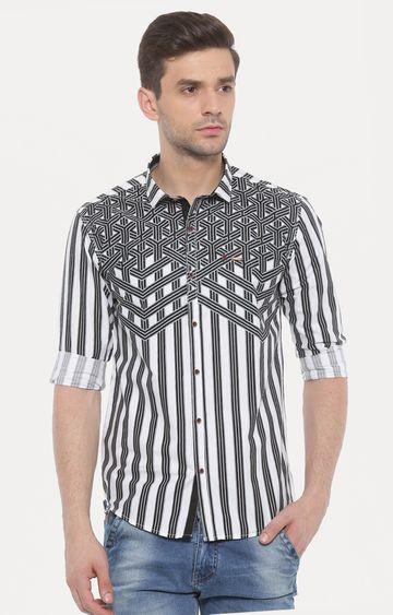Showoff | White and Black Printed Casual Shirt