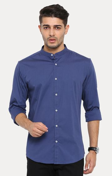 Showoff   Navy Blue Solid Casual Shirt