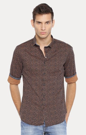 Showoff | Brown Patterned Casual Shirt