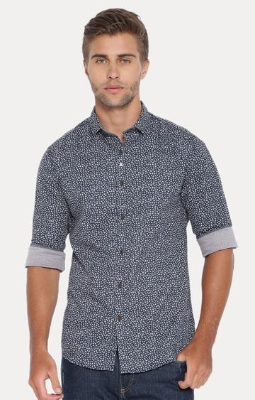 Showoff | Navy Blue Patterned Casual Shirt