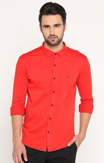 Showoff | Red Solid Casual Shirt