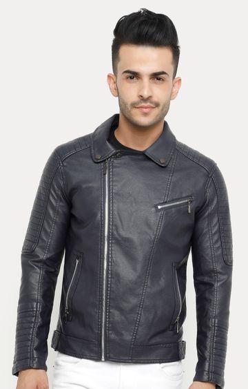 Showoff | Navy Blue Solid Leather Jacket