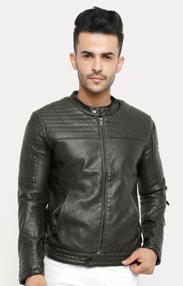 Showoff | Olive Solid Leather Jacket