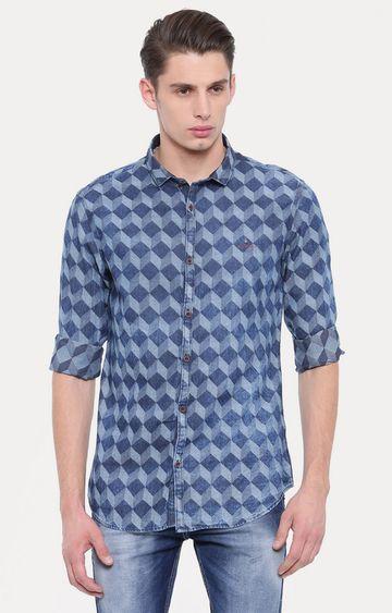Showoff   Dark Blue Checked Casual Shirt