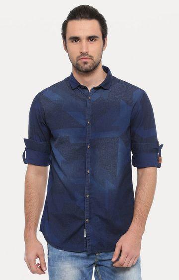 Showoff | Dark Blue Solid Casual Shirt