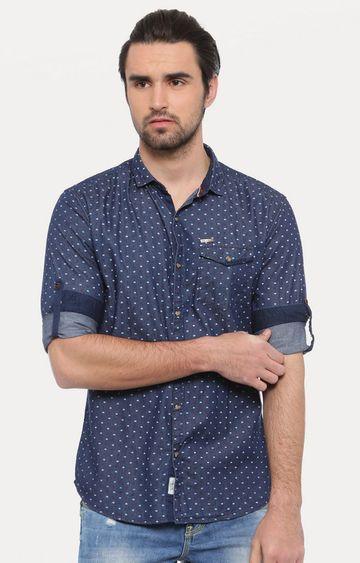 Showoff | Dark Blue Polka Dots Casual Shirt