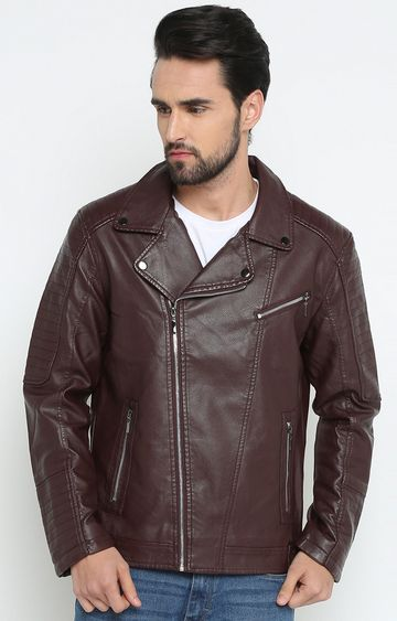 Showoff | Maroon Solid Leather Jacket
