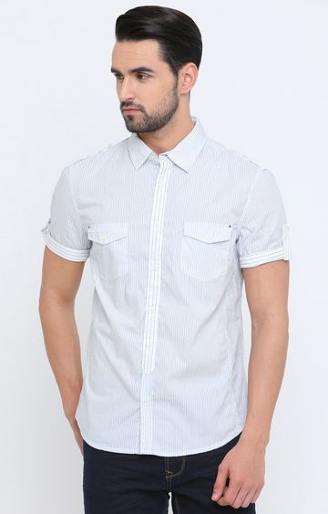 Showoff   White Striped Casual Shirt