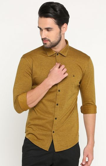 Showoff | Light Brown Melange Casual Shirt