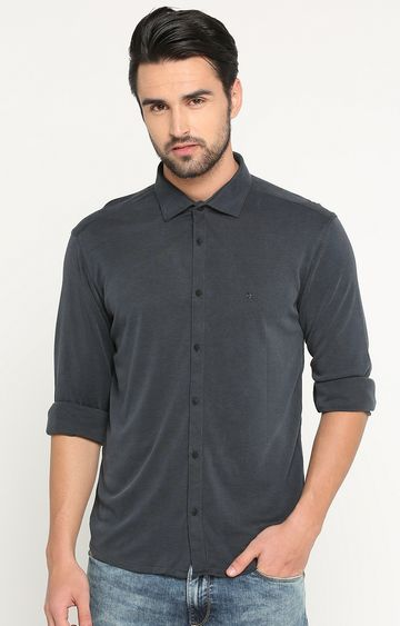 Showoff | Grey Melange Casual Shirt