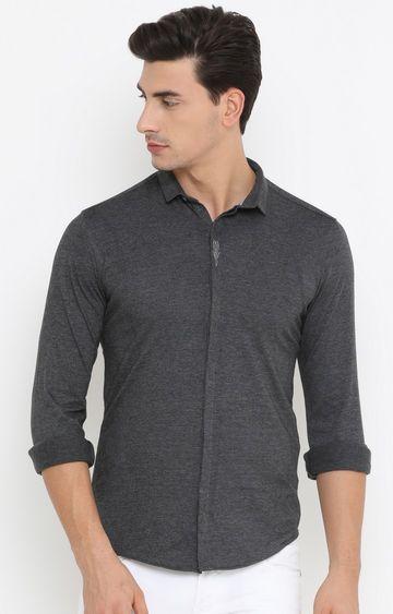 Showoff | Grey Melange Casual Shirt