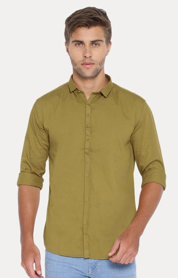 Showoff | Olive Solid Casual Shirt