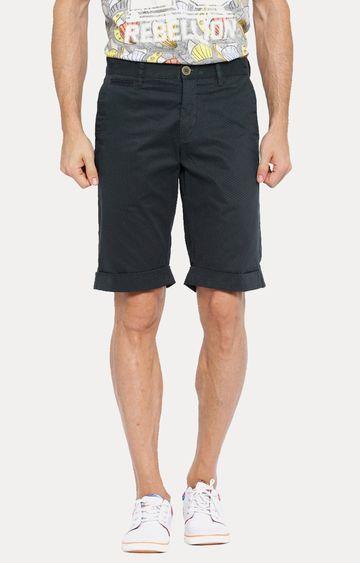 Showoff | Navy Blue Patterned Shorts