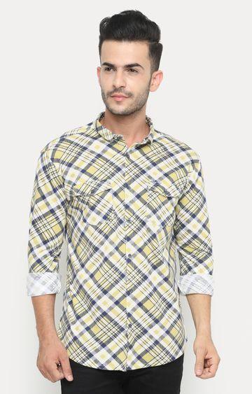 Showoff | Yellow Checked Casual Shirt
