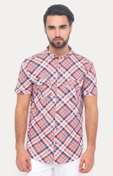 Showoff   Orange Checked Casual Shirt