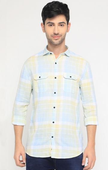 Showoff | Green and Yellow Checked Casual Shirt