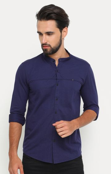 Showoff | Navy Blue Solid Casual Shirt