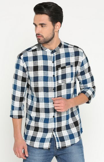 Showoff | Blue and Black Checked Casual Shirt