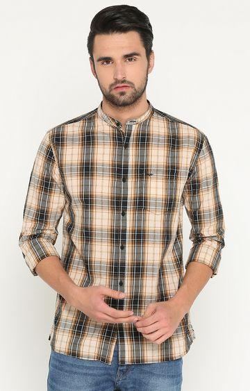 Showoff | Brown Checked Casual Shirt