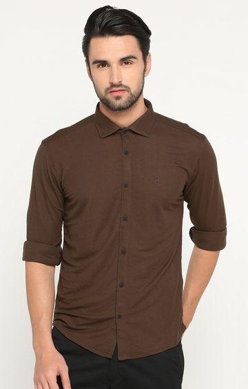 Showoff | Dark Brown Solid Casual Shirt