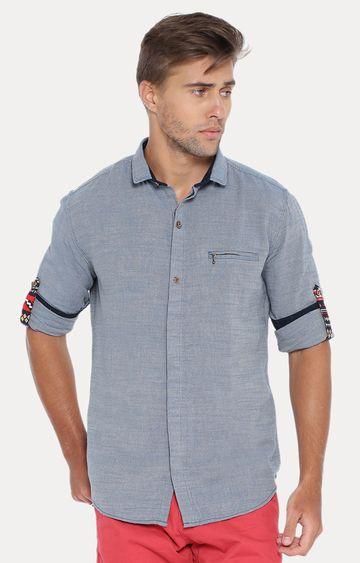 Showoff   Blue Melange Casual Shirt
