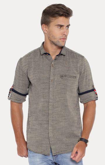 Showoff | Brown Melange Casual Shirt