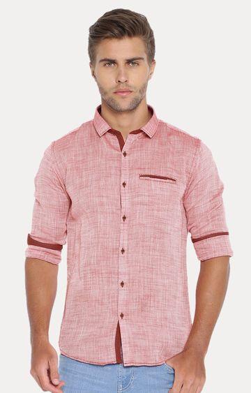 Showoff | Red Melange Casual Shirt