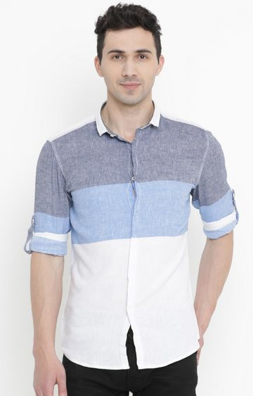 Showoff | Blue and White Colourblock Casual Shirt