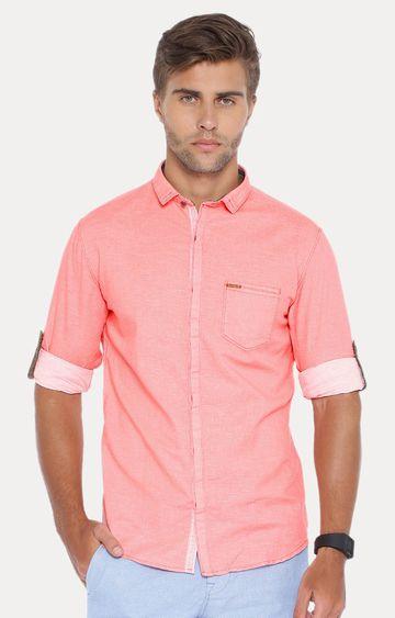 Showoff | Peach Solid Casual Shirt